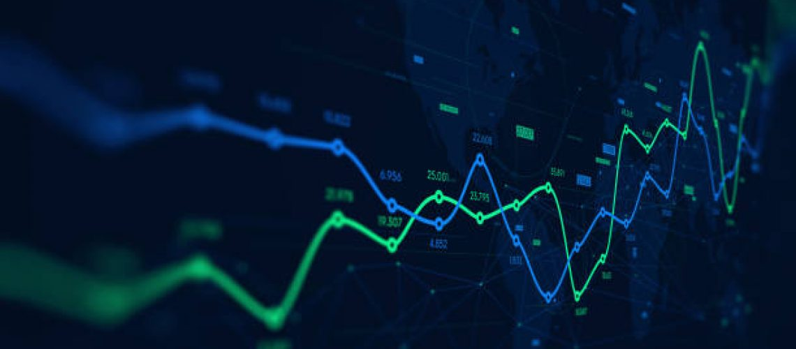Digital analytics data visualization, financial schedule, monitor screen in perspective for presentations